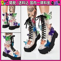 DOLLS KILL Platform Round Toe Lace-up Casual Style PVC Clothing