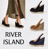 River Island Open Toe Casual Style Suede Plain Python