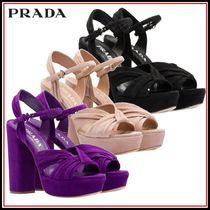 PRADA Open Toe Plain Leather Block Heels Elegant Style