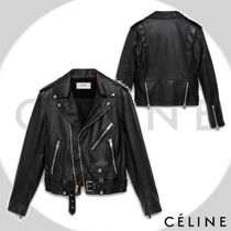 CELINE Short Plain Leather Biker Jackets