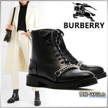 Burberry Round Toe Casual Style Street Style Plain Leather