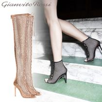Gianvito Rossi Plain Leather Pin Heels Elegant Style Over-the-Knee Boots