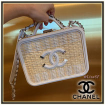 CHANEL 2WAY Chain Leather Straw Bags
