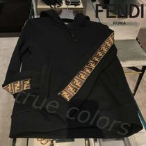 FENDI Monogram Unisex Street Style Long Sleeves Cotton