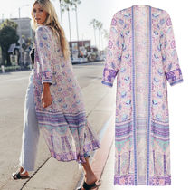 SPELL Flower Patterns Casual Style Long Sleeves Long Gowns Tops