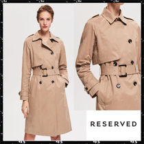 RESERVED Suede Plain Long Trench Coats