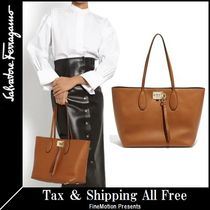Salvatore Ferragamo Blended Fabrics A4 Plain Leather Elegant Style Totes