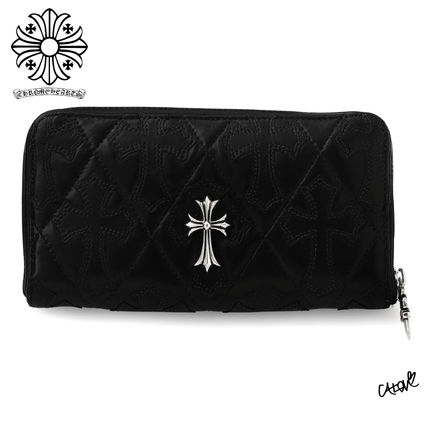 CHROME HEARTS CH CROSS Unisex Blended Fabrics Leather Handmade Long Wallet