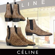 CELINE Leopard Patterns Chelsea Boots Ankle & Booties Boots