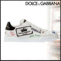 Dolce & Gabbana Blended Fabrics Studded Leather Sneakers