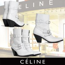 CELINE Plain Toe Plain Leather Block Heels High Heel Boots