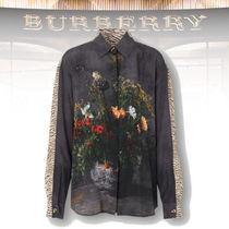 Burberry Floral and Tiger Print Silk Shirt
