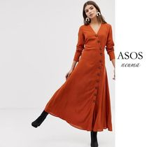 ASOS Casual Style Maxi Street Style V-Neck Long Sleeves Plain