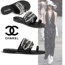CHANEL Open Toe Street Style Chain Plain Leather With Jewels