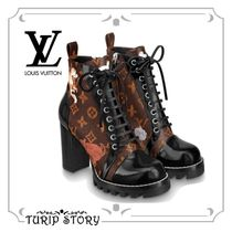 Louis Vuitton MONOGRAM Round Toe Other Animal Patterns Block Heels Elegant Style