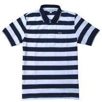 LACOSTE Pullovers Stripes Cotton Short Sleeves Polos