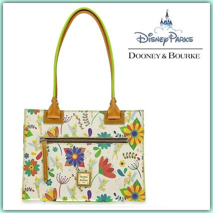 Flower Patterns Collaboration A4 Leather Elegant Style Totes