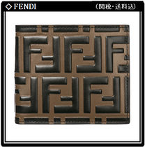 FENDI Monogram Unisex Calfskin Folding Wallets