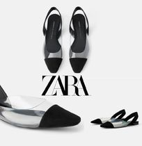 ZARA Open Toe Platform Casual Style Lace-Up Shoes