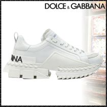 Dolce & Gabbana Rubber Sole Casual Style Blended Fabrics Plain Leather