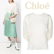 Chloe Silk Cropped Plain Medium Elegant Style Shirts & Blouses
