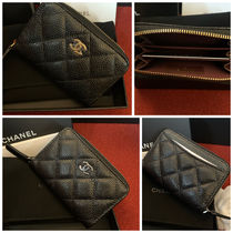 CHANEL Plain Leather Long Wallet  Logo Coin Cases