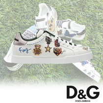 Dolce & Gabbana Street Style Plain Leather Sneakers