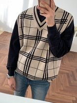 ASCLO Pullovers Other Plaid Patterns Unisex Street Style