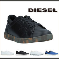 DIESEL Camouflage Plain Leather Sneakers