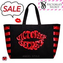 Victoria's secret Stripes Casual Style Canvas A4 With Jewels Totes