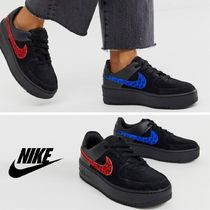 Nike AIR FORCE 1 Leopard Patterns Unisex Leather Sneakers