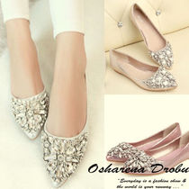 Plain With Jewels Slip-On Shoes