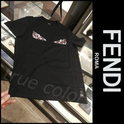 FENDI Crew Neck Crew Neck Heart Plain Cotton Short Sleeves