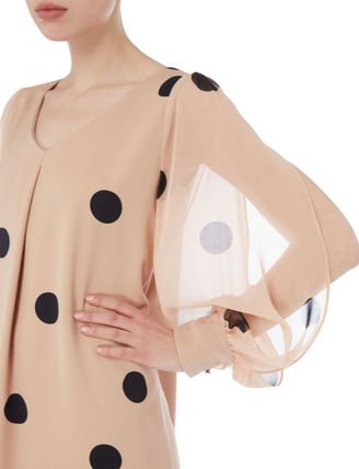 Crew Neck Wrap Dresses Dots Medium Party Style Puff Sleeves