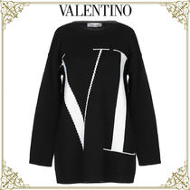 VALENTINO Casual Style Cashmere Bi-color Long Sleeves Home Party Ideas