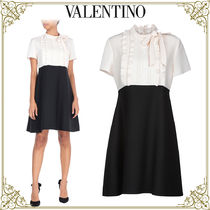 VALENTINO Short Casual Style Wool Bi-color Short Sleeves