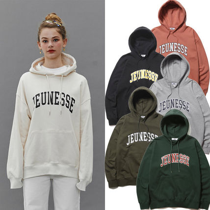 Unisex Street Style Long Sleeves Plain Cotton Oversized Logo