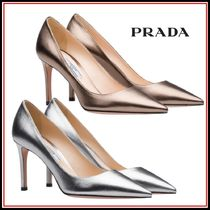 PRADA Leather Pin Heels Elegant Style Pointed Toe Pumps & Mules