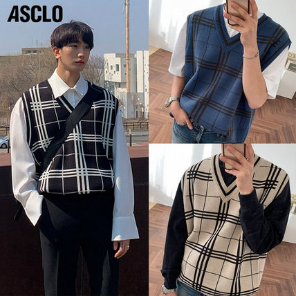 ASCLO Vests & Gillets Pullovers Other Plaid Patterns Unisex Vests & Gillets