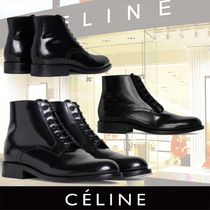 CELINE Plain Toe Plain Leather Ankle & Booties Boots