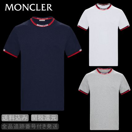 MONCLER Crew Neck Crew Neck Street Style Bi-color Cotton Short Sleeves