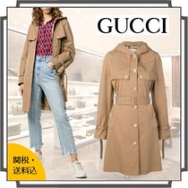 GUCCI Casual Style Blended Fabrics Plain Medium Midi Parkas