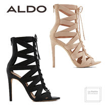 ALDO Open Toe Lace-up Faux Fur Plain Pin Heels Oversized