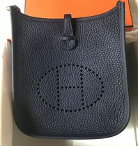 HERMES Evelyne Casual Style Plain Leather Shoulder Bags