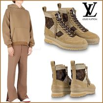 Louis Vuitton MONOGRAM Monogram Plain Toe Mountain Boots Unisex Blended Fabrics