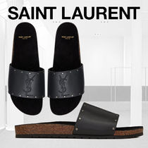 Saint Laurent Studded Street Style Plain Leather Shower Shoes
