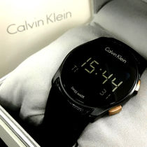 Calvin Klein Casual Style Unisex Street Style Leather Round