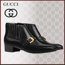 GUCCI Casual Style Plain Leather Block Heels Ankle & Booties Boots