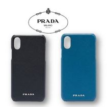 PRADA Plain Leather Smart Phone Cases