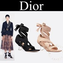 Christian Dior Star Open Toe Lace-up Casual Style Blended Fabrics